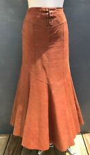 TOGETHER VINTAGE 100% LEATHER WOMEN'S BROWN TRUMPET MAXI SKIRT SIZE 6