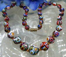 "ESTATE VINTAGE BEAUTIFUL HAND KNOTTED MILLEFIORI GLASS GARDUATED NECKLACE 18""!"