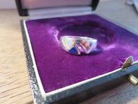 Schöner 925 Silber Ring Email Blau Schlicht Designer Zacke Vintage Retro Top