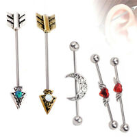 Women Surgical Steel Industrial Bar Scaffold Ear Barbell Ring Piercing JewelryEL