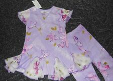 Indygo Hand Painted Artwear Top & Capri Pant Outfit Set Purple NWT Sz 6 Twirl!