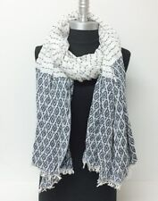 New Women Long Scarf Ticking Striped Navy White Oblong Shawl Wrap Soft Pashmina