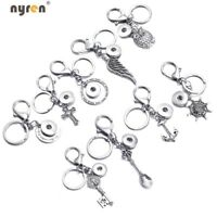 Multi Styles Metal Snap Keychains Keyring Fit 18mm Snap Button Snap Jewelry