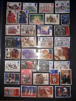 Great Britain Stamp Collection (2 full pages all different stamps). Free UK P&P.