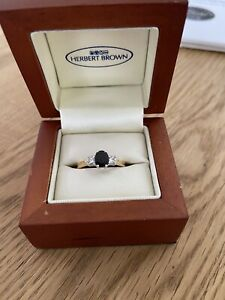 18 ct gold sapphire diamond ring size n