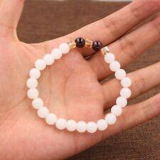 White Chalcedony Bracelet Bangle Natural 7mm Round Beads Women Fashion Jewelry