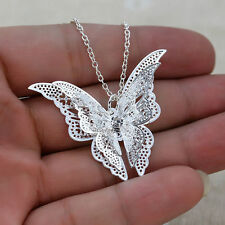 Hollow 925 Sterling silver Women's Butterfly Necklace Pendants Charm X'mas Gifts