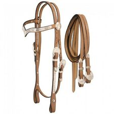 Royal King V Browband Show Horse  Headstall  with reins- Light Oil - Full