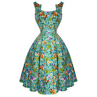 Hearts & Roses London Turquoise Blue Floral Retro 1950s Flared Tea Dress UK