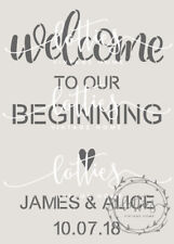 a4 STENCIL PERSONALISED Welcome to our Beginning VINTAGE WEDDING Decoration Sign