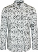 Relco Mens White & Black Paisley Long Sleeved Button Down Vintage Shirt Mod 60s