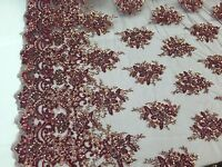 Burgundy Multicolor Gleaming Design Embroider And Heavy Beaded On A Mesh Lace -y