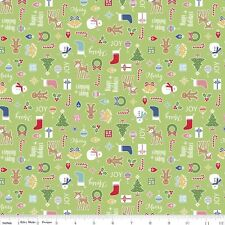 Riley Blake Cozy Christmas Fabric. Main in Green. sold by the Fat Quarter