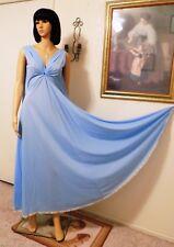LUCIE ANN vintage Nylon KEYHOLE Grecian Gold Thread Nightgown BLUE size L large