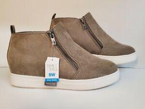 "Womens Brown Ankle Boots Size 9W Memory Foam -1"" Platform"