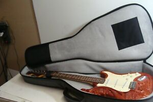 Jimi Hendrix Strat Style Burnt Carved Electric Guitar - With Soft Case