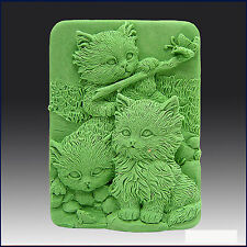 egbhouse, 2D Silicone Soap/Plaster/Polymer clay Mold – Three Little Kittens