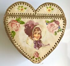 More details for victorian heart card trinket box with laced construction
