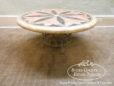 Custom Round Coffee Table w/ Iron Base & Pietra Dura Mosaic Marble Top