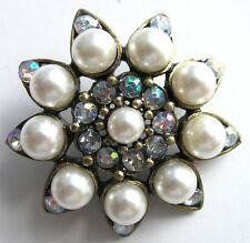 1 x 3.2cm Vintage Inspired Button AB Rhinestone Pearl Shoes  Fascinator