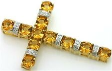 2.2ct Citrine & Diamond 9ct 375 Solid Gold Cross Pendant - 30 Day Returns