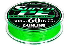 Sunline Super PE 60lb Braid PE6 Braid Fishing Line 300m Hi-Vis Green New