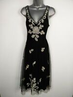 WOMENS MONSOON UK 14 BLACK FLORAL LACE/MESH SLEEVELESS FLARE OCCASION DRESS