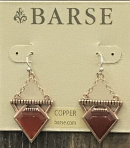 Barse Tres Piedras Earrings- Carnelian & Copper- New with Tags