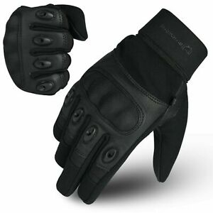 WFX Leather Motorbike Gloves Summer Hard Knuckle Touchscreen Biker Motorcycle