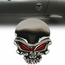 3D Red Eyes Skull Bone Devil Metal Car Emblem Badge Sticker Decal Gloss Black