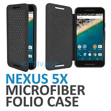 Genuine Official Google Nexus 5X Folio Flip Case Microfiber Carbon Black for LG