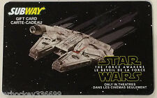 Subway Canada STAR WARS 1 of 2 collectible gift card (no cash value) French/Eng
