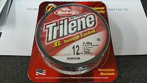 1 Spool Berkley Trilene XL Smooth Casting Clear Mono Line 12 Pound Test 300 Yard