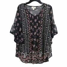 Style /& Co Navy Multi Long-Sleeve Floral-Print Button-Down Swing Shirt L