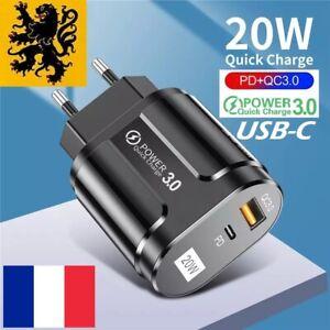 Chargeur Secteur ⚡️ Rapide USB 5V 20W⚠️1x QC3.0 + 1x PD3.0 USB-C Iphone 12 11