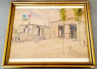 WW2 HOLOCAUST SURVIVOR HAND MADE FRAME PAINTING OF A FRENCH CONCENTRATION CAMP