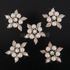 5Pcs Flatback Brooch Wedding Pearl Rhinestone Sew Buttons Decoration 38mm