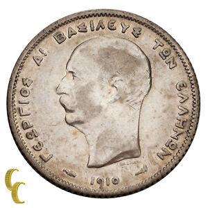 1910-A King George Greece Silver Drachma Paris Mint