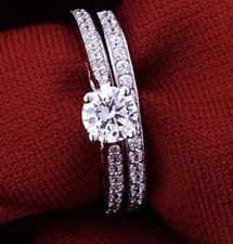 Engagement Wedding Crystals Strass Princess Cut Solitaire Ring Set Size 7