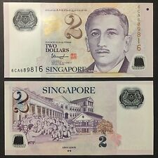 2017 SINGAPORE PORTRAIT POLYMER 2 DOLLARS W/2 SOLID STAR P-NEW UNC