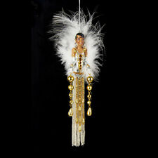 T1490 White Feather Jazz Age Lady Tassel Ornament Deco and Diamonds Collection