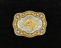 KID'S Bullrider - Horsehead ~WESTERN BELT BUCKLE~ NOCONA Silver Gold Stars 37989
