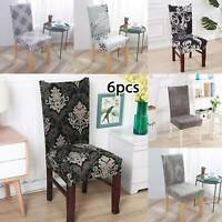 6PCS Dining Chair Seat Covers Slip Stretch Wedding Banquet Party Removable UK