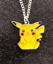 "POKEMON PICACHU ENAMEL NECKLACE PENDANT 16"" Silver Plated Chain in gift bag"