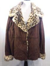 Siena Studio Lightweight Coat Plus Size 3x Faux Animal Fur Lined & Faux Suede