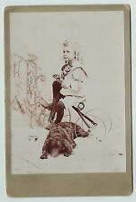 NICE Cabinet Photo - Girl on Tricycle & Cocker Spaniel? Dog Posed Studio ca 1880