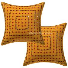 Embroidered Lace Mirror 16x16 Cushion Covers Yellow Geometrical Cotton Set Pair