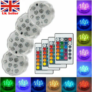 4X LED Underwater Lights Swimming Pool Pond Submersible Light Waterproof Hot Tub