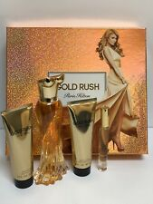 GOLD RUSH PARIS HILTON PERFUME 4PC GIFT SET 3.4 + LOTION + S/GEL & ROLLER NEW