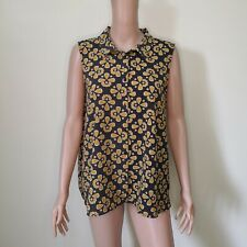C324 - Monki Brown and Yellow Flower Print Sleeveless Top with Collar